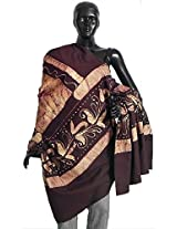 DollsofIndia Dark Maroon and Off-White Batik Print Cotton Stole - Cotton - Red