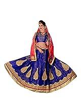 Manvaa Beautifully Dazzling Blue And Pink Net lehenga