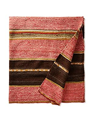 Nomadic Thread Society Peruvian Vintage Manta Throw, Earth Tone/Pink
