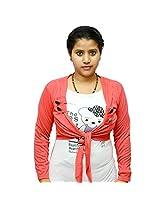 Odishabazaar Women's Cotton Printed White Pink T-shirt S