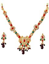 14Fashions Red Green Copper Necklace Set For Women_1100825