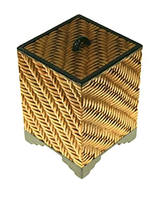 The Niger Bend Tall Soapstone Box with Basketweave Design