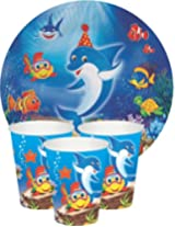UNDERWATER THEME Birthday Party supplies disposable Tableware pack - Plates, Glasses
