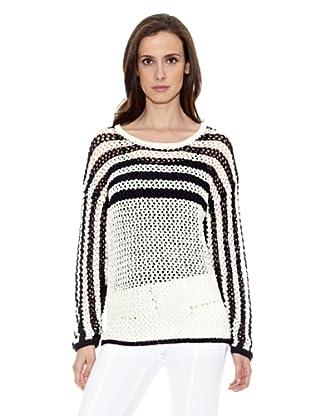 Cortefiel Jersey Calado Rayas (Blanco / Negro)