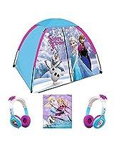Disney Frozen Kids 3 Piece Indoor / Outdoor Camp Set Play Tent, Plush Blanket & Headphones