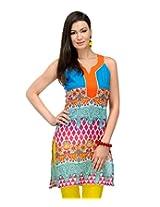 Yepme Julieta Printed Kurti - Blue & Pink - YPMKURT0559_XL