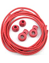 Reflective No-Tie Shoe Laces - Elastic Safety Laces with Locks (Red)
