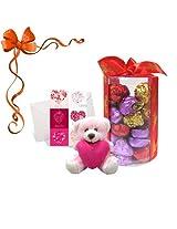 Chocholik's New Luxury Round Chocolate Box With Love Card & Hugging Cute Teddy