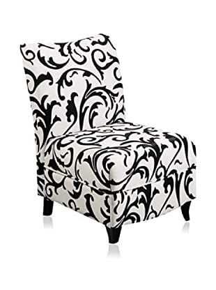 Armen Living Camelot Club Chair, Black/White