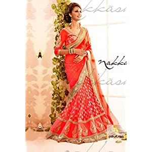 Exotic Orange and tan color party wear Lehenga Choli