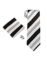 Landisun 10G Black White Stripe Mens Silk Tie Set: Tie+Hanky+Cufflinks Exclusive