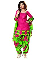 Riti Riwaz Peach Casual Dress materal with matching dupatta PUM7009