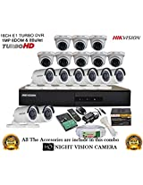 HIKVISION 16CH- DS-7216HGHI-E1-Turbo-HD-720P-DVR + HIKVISION TURBO DOME BULLET CAMERA 16pcs +500GB WD HDD + CABLE 3+1 COPPER + POWER SUPPLY (FULL COMBO)