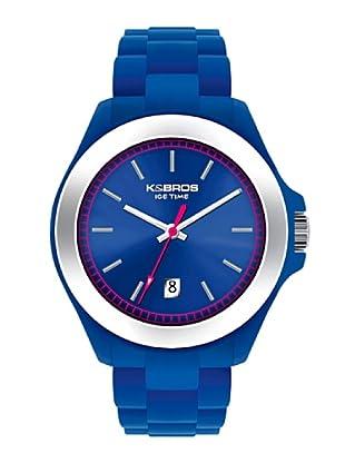 K&BROS 9549-7 / Reloj Unisex con correa de caucho Azul