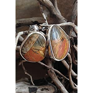 Flames of The Forest Butterfly Jasper set in Sterling Silver Earring