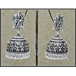 Shiva studs with oxidised tribal jhumka, Antique silver