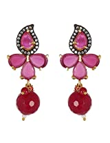Be You Gorgeous Red Colour Diamond Look Rhodium Plated Brass Drop Earring for Women