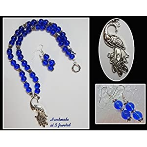 B Jeweled Peacock Pendant With Blue Glass Beads jewellery Set