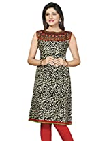 Boat Neck Jaipuri Cotton Long Printed Kurtis(Size : XX-Large)