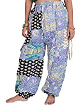 Exotic India Casual Patchwork Trousers with Front Pockets - Black
