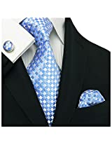"Landisun Plaids Checks Mens Silk Tie Set: Necktie+Hanky+Cufflinks 192 Light Blue, 3.25""Wx59""L"