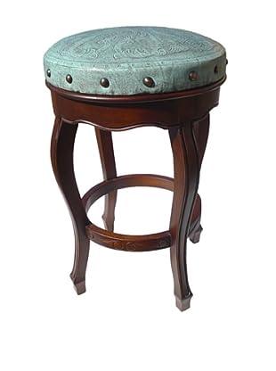 New World Trading Spanish Heritage Round Barstool, Turquoise