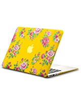 "Kuzy Vintage Flowers Rubberized Hard Case for MacBook Air 13.3"" (A1466 & A1369) - Yellow"
