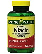 Spring Valley - Flush Free Niacin (B-3) 500 mg, 240 Capsules (2 Bottles of 120)