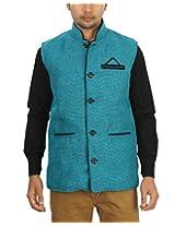 Ablush Men's Jute Plain Waistcoat - Blue - XX-Large