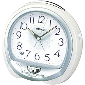 SEIKO CLOCK(セイコークロック) アナログ目覚まし時計 アラーム音切替タイプ ホワイトQM743W