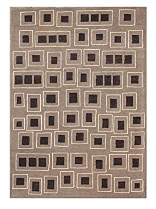 Mini Square Rug, Tan/Black, 5' x 8'