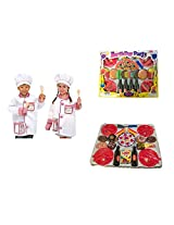 Melissa & Doug Chef Role Play Costume Set Costumes with Agglo 36 Piece Play Food Set