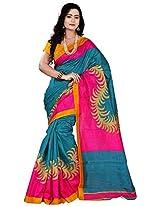 Silk Bazar Women's Tassar Silk Saree with Blouse Piece (Pink & Blue)