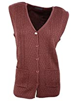 Casanova Women's Sleeveless Cardigans (2133, Rust, L)