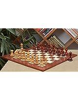 Chessbazaar Combo Of Indian Chetak Ii Customized Staunton Chess Set In Bud Rose Wood / Box Wood & Red Ash Burl Maple Board