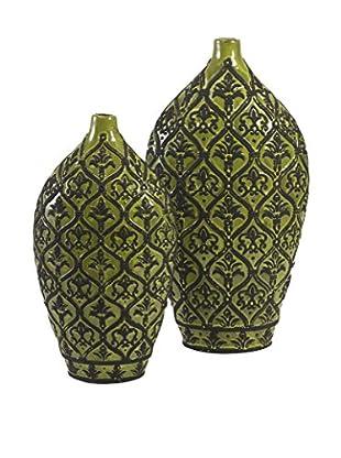 Amaury Set Of 2 Ceramic Vases, Green