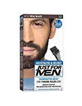 Just for Men Brush-In Color Gel for Mustache & Beard Real Black M-55 1 kit Packaging May Vary (Pack of 3)
