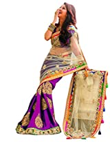 Khodiyar Creation presents this Purple coloured saree, which will make you look striking and evenmorebeautiful. Made of net and chiffon, this saree is quite comfortable to wear and easy to drape as well. This saree measures 6.3 m and it comes with a 0.80 m blouse piece