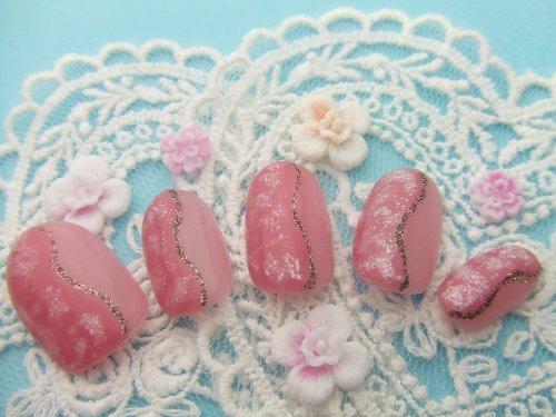ネイルチップ 桜ネイル 桃色ネイル