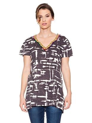 Mahal Camiseta con Apliques (Negro / Blanco)