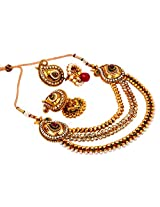 Megh Craft Women One Gram Gold Plated Bridal Jewellery - Paisley Shape Multi Layered Necklace with jhumka earring