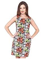Purys Women's Shift Dress (E-150650SP-2801_White Orange Green_L)
