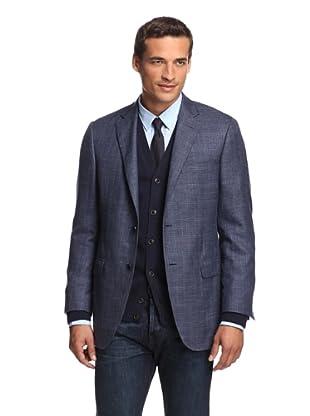 Samuelsohn Men's Twill Sport Coat (Navy Plaid)