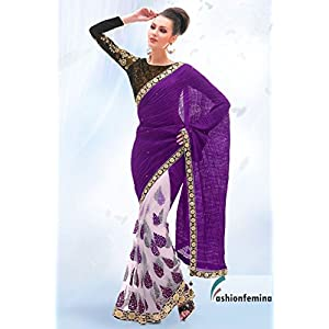 Stylish Violet and Offwhite saree with corn flower lace border
