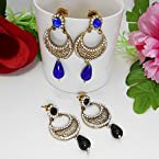 Blue & Black Danglers Combo Earring