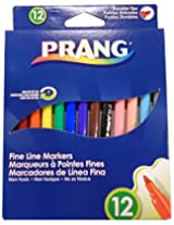 Prang Fine Line Markers, Washable, Set of 12 Markers, Assorted Colors (80714)