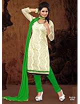 Attractive Designer Cream And See Green Salwar Suit FA218-1005