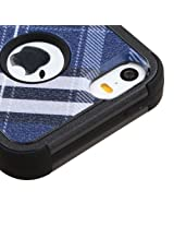 iPhone SE Case, Rock Me Wireless (TM) 2 items Bundle - 24K Gold Plating Sticker and Triple Layers Hybrid Protector Case Cover for Apple iPhone SE / 5S / 5. (Blue Plaid - Stand)