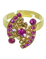 DollsofIndia Magenta and Brown Stone Studded Adjustable Ring - Stone and Metal - Magenta