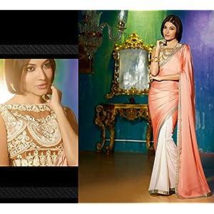 PR Fashion Embroidery Lace Saree - Peach & Off White